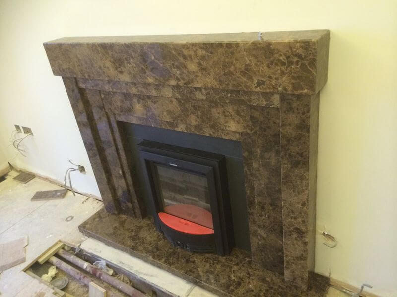 Dark Emperador Marble Fireplace, London Baker Street W1