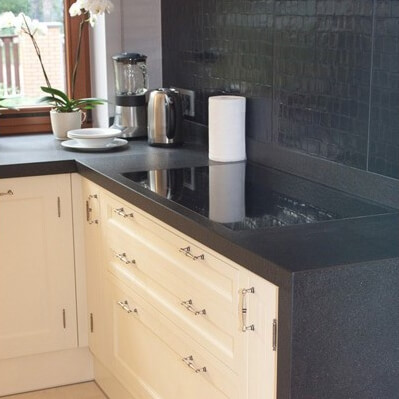 Silestone Composite Tebas Black Kitchen Worktop, Uxbridge UB10