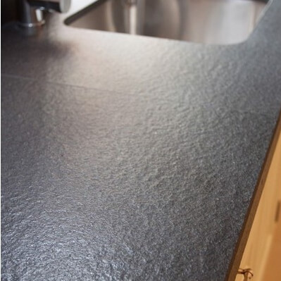 Black Absolute  Leather Finished Granite Kitchen Worktop, London Chiswick, W4