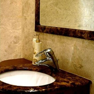 Crema Marfil and Dark Emparador Marble Bathroom, London Twickenham TW7