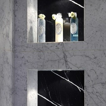 Carrara Gioia Marble and Nero Marquina Marble Bathroom Niche, London Barnes SW13