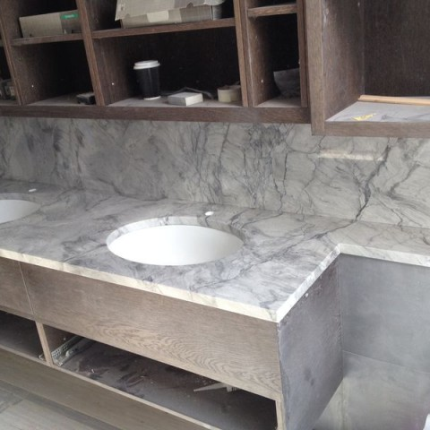 Bianco Eclipse Granite Vanity Top and Full High Splashback, London Fulham SW6