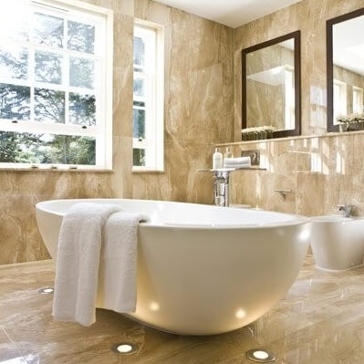 Perlato Olympo Marble Bathroom, Weybridge