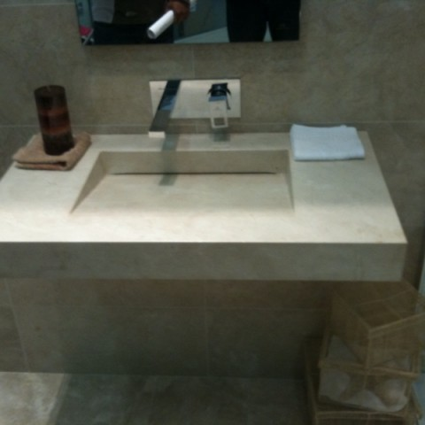 Crema Marfil Marble Bespoke Made Vanity Top, London Hammersmith, W6