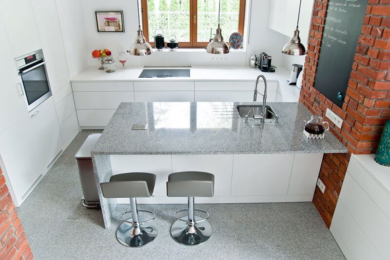 Azul Platino Granite Kitchen Island, London Hammersmith, W6