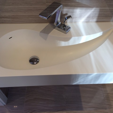 White Corian Bespoke Made Vanity Top, London Maida Vale, W9