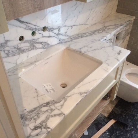 Statuario Marble Vanity Top, London Fulham SW6