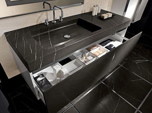 Nero Marquina Marble Bespoke Made Vanity Top London Chiswick W4
