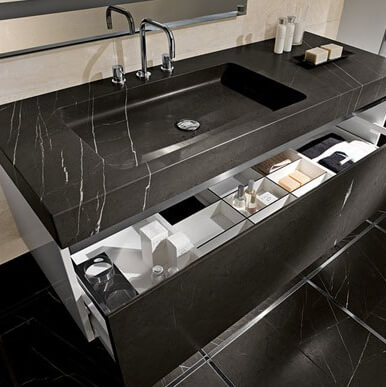 Nero Marquina Marble Bespoke Made Vanity Top, London Chiswick W4