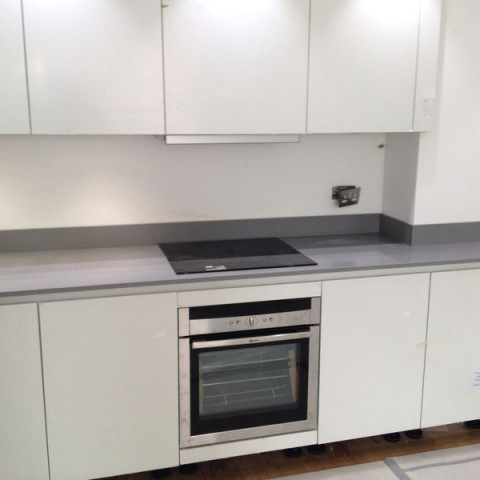Grey Composite Kitchen Worktop and Upstand, London Chelsea, SW3