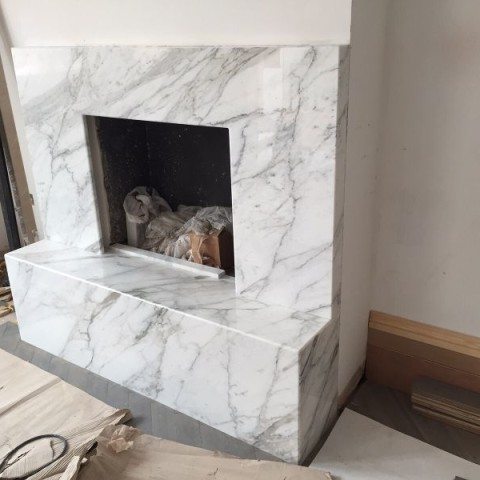 Calacatta Marble bespoke made fireplace Fulham, London 1