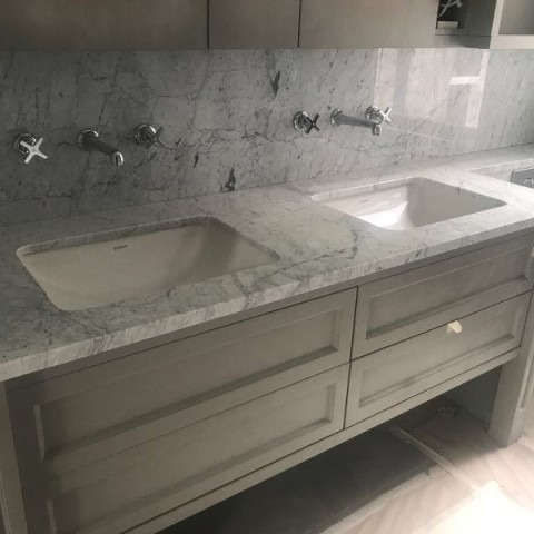 Carrara Marble Vanity top with full high splash back Fulham, London 1