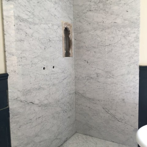 Carrara Marble shower walls and shower tray Chelsea, London 1