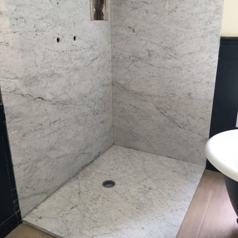 Carrara Marble shower walls and shower tray Chelsea, London 2