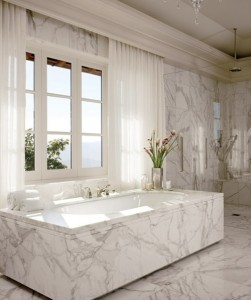 luxurious white marble bathroom