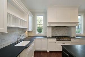 Black granite honed finish kitchen worktop